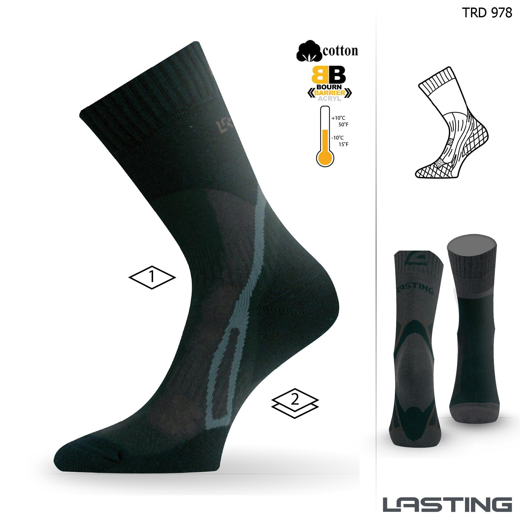Lasting TRD 978 černá trekingová ponožka Velikost: (38-41) M