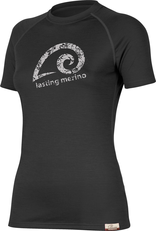 Lasting MERILA 9090 černé vlněné merino triko s tiskem Velikost: L