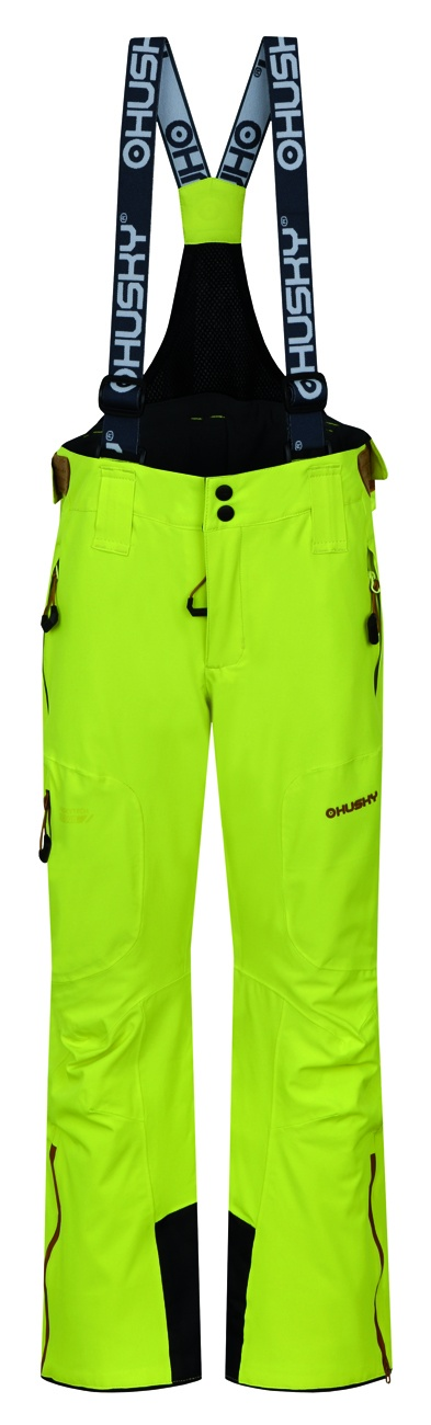 Husky Dětské lyžařské kalhoty Zeus Kids zelenožlutá Velikost: 164-170