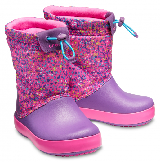 Crocs Dívčí sněhule Kids' Crocband™ LodgePoint Graphic Boot - růžové, EUR 27-28 Velikost: 27/28