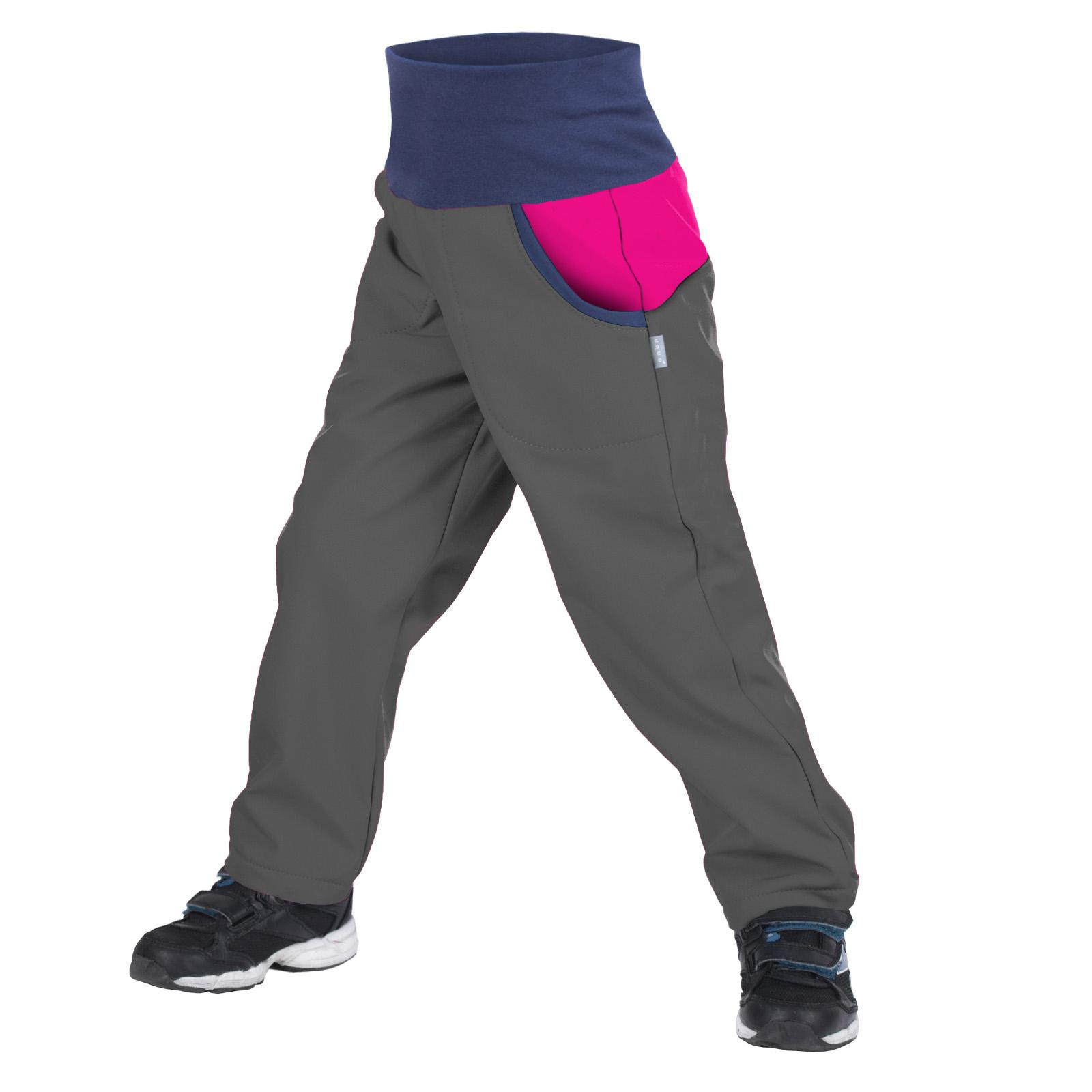 Unuo, Dětské softshellové kalhoty s fleecem DUO, Tm. Šedá, Fuchsiová Velikost: 110/116 dětské kalhoty