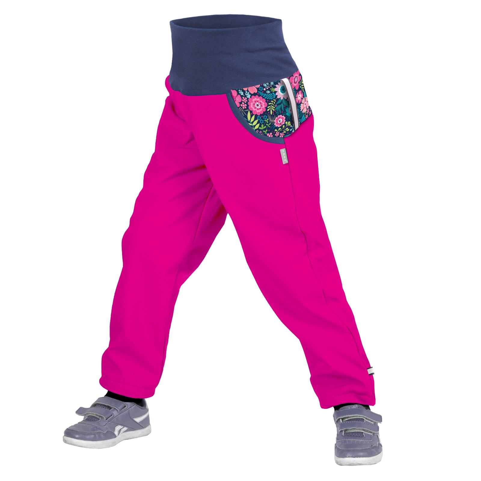 unuo softshellové kalhoty s fleecem Květinky fuchsiové Velikost UNI (Size): 98/104