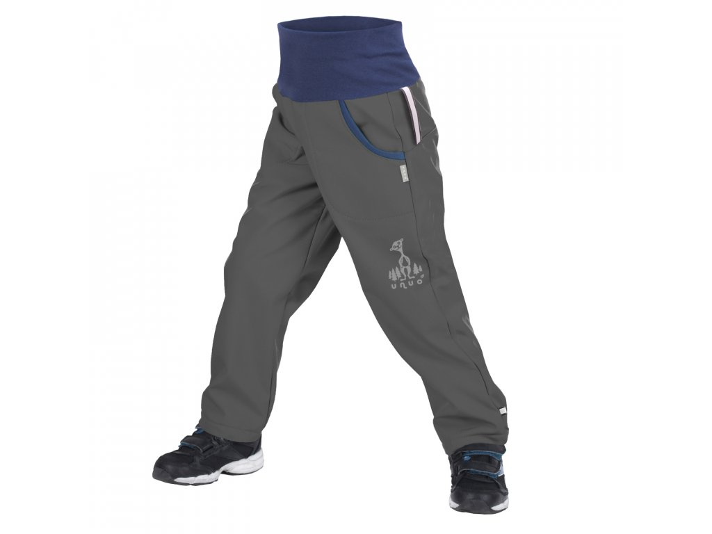 unuo softshellové kalhoty bez zateplení Antracitové + reflexní obrázek Evžen (Softshell kids trousers) Velikost: 122/128