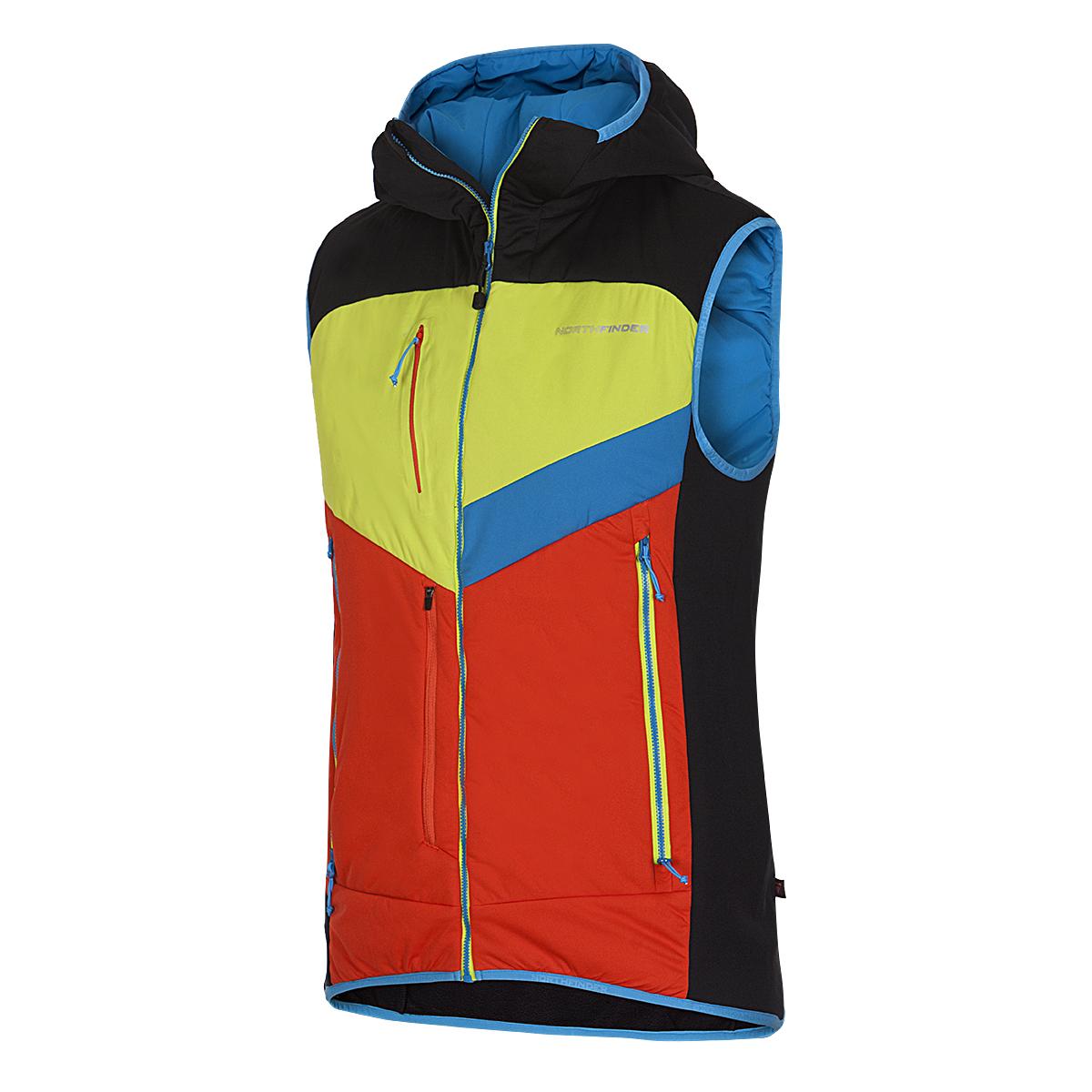 Northfinder pánská skialp vesta aktivní sport zateplená Primaloft® izolace Eco Black GORGINNO B