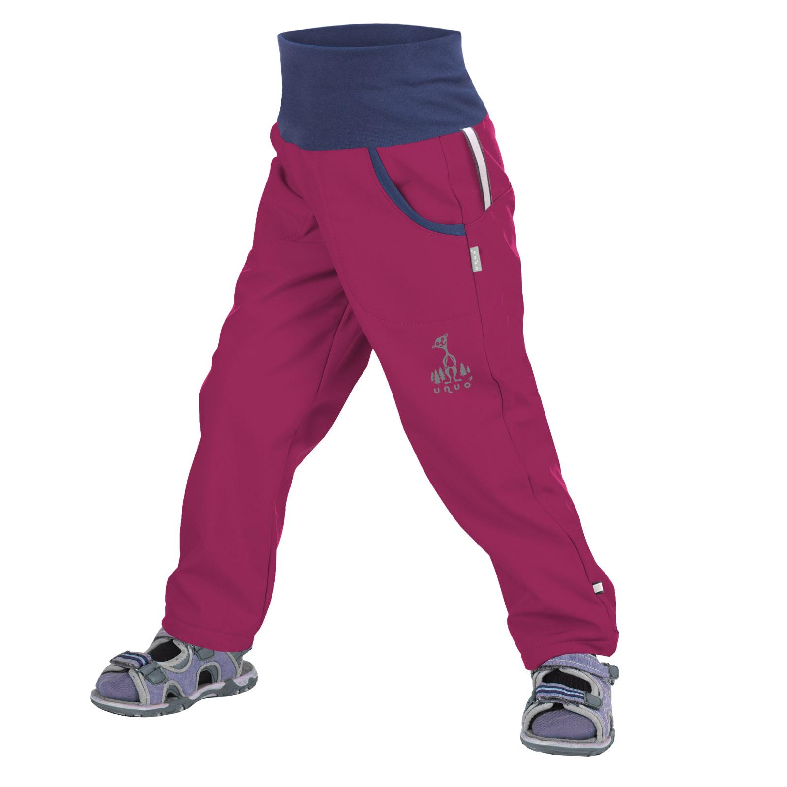 unuo softshellové kalhoty bez zateplení Malinové + reflexní obrázek Evžen (Softshell kids trousers)
