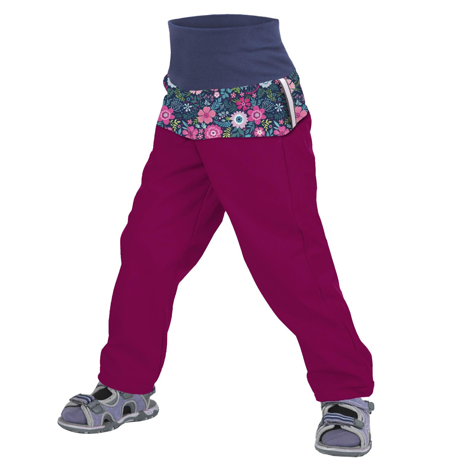 unuo Batolecí softshellové kalhoty bez zateplení Květinky malinové Velikost: 86/92 SLIM