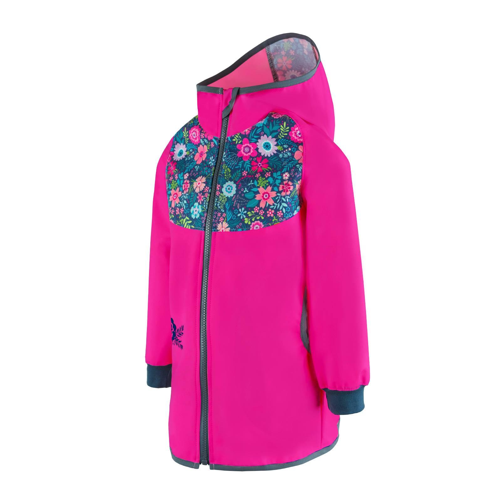 unuo Softshellový kabátek bez zateplení Květinky, Fuchsiová (Unuo softshell spring coat printed