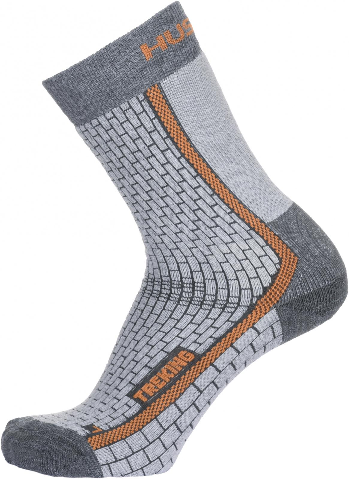 Husky Ponožky Treking šedá/oranžová Velikost: L (41-44) ponožky