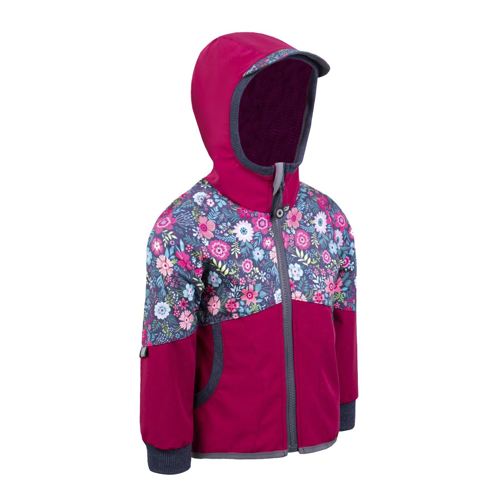 Unuo, Softshellová bunda bez zateplení Street, Tm. růžová malinová, Květinky Velikost: 122/128