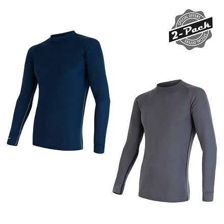 SENSOR ORIGINAL ACTIVE 2-PACK pánský triko dl.rukáv šedá + modrá Velikost: L