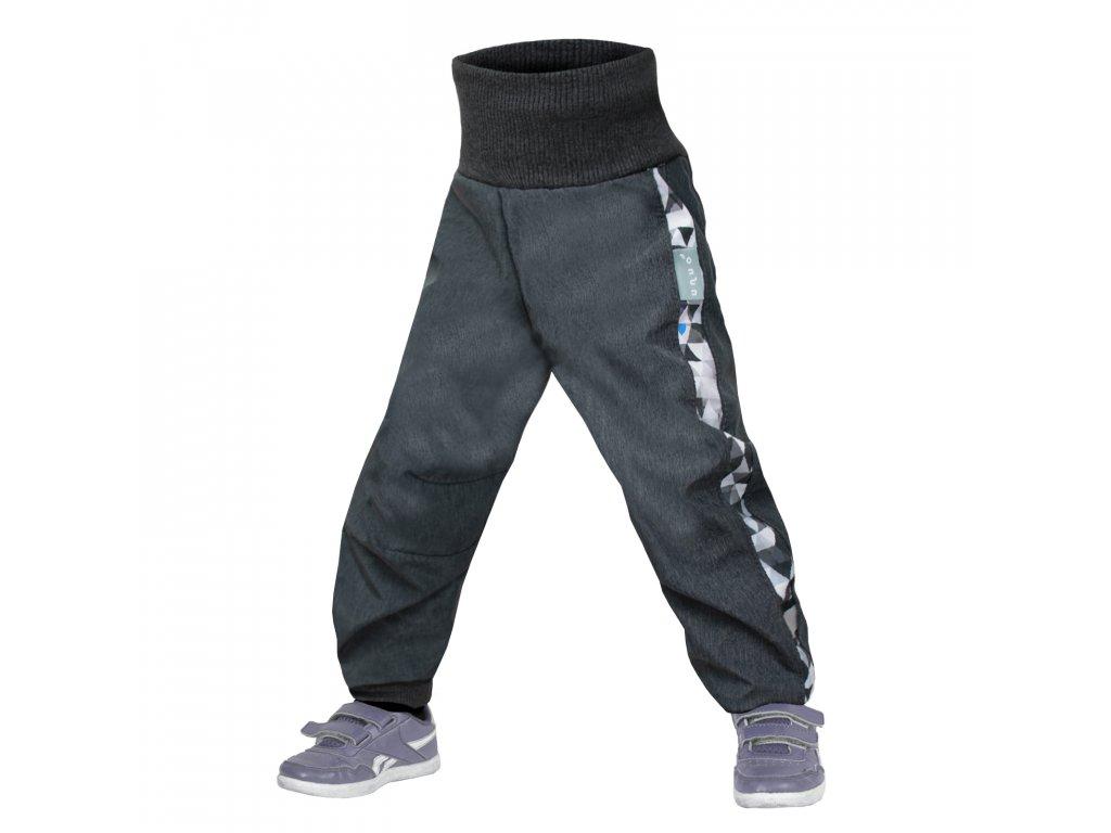 Unuo Softshellové kalhoty batolecí s fleecem Street, Žíhaná antracitová, Metricon kluk Velikost: 86/92