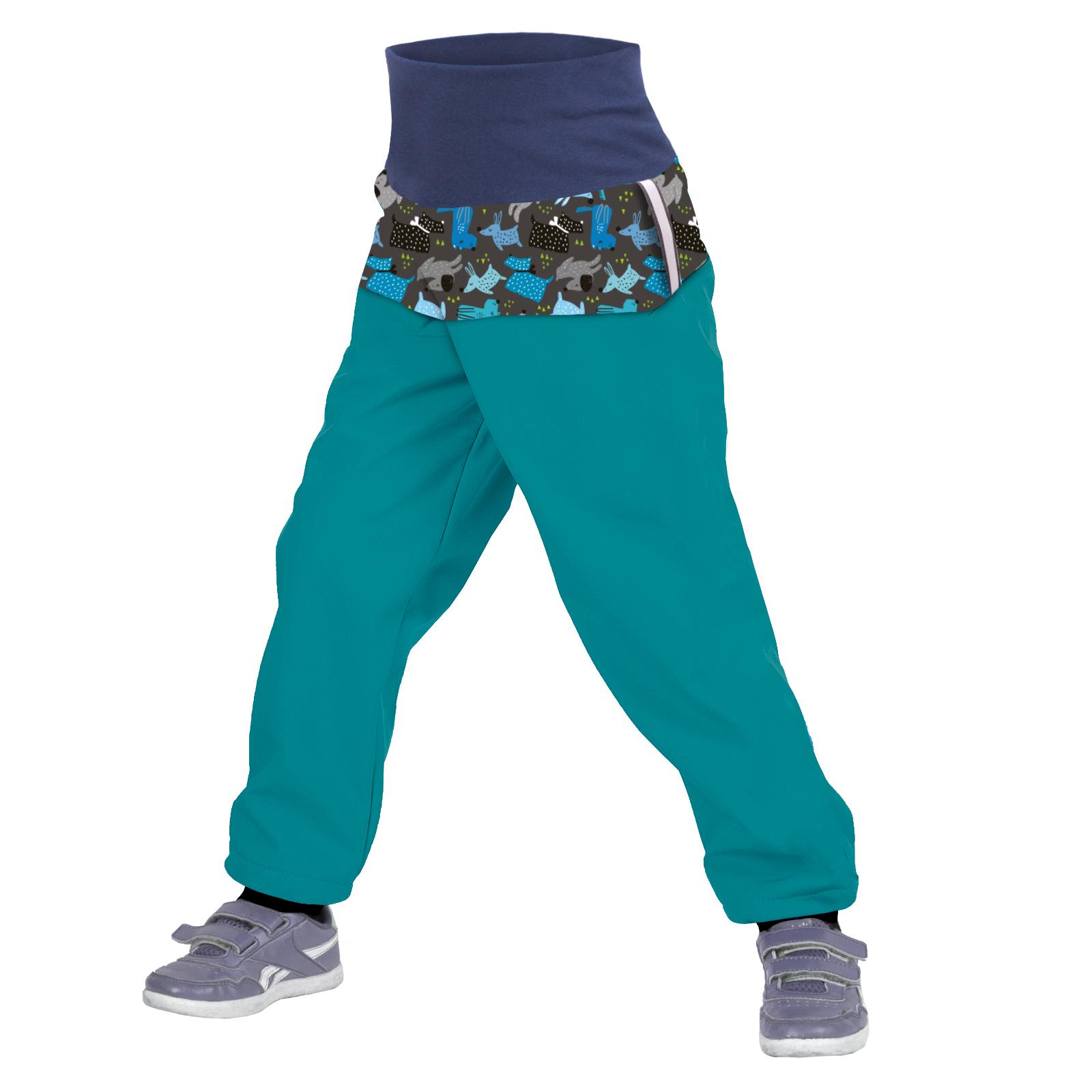 Unuo Batolecí softshellové kalhoty s fleecem, Smaragdová, Pejsci Velikost: 92/98 SLIM dětské kalhoty