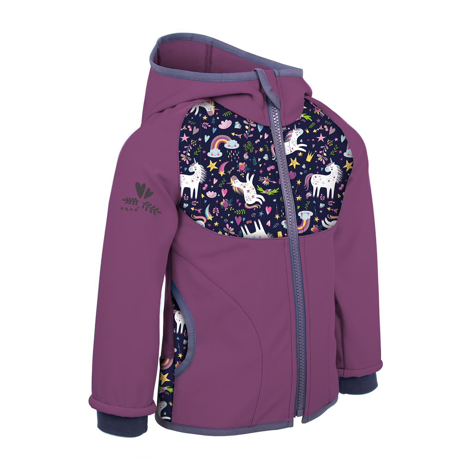 Unuo Softshellová bunda s fleecem, Ostružinová, Jednorožci Velikost: 80/86 dětská bunda