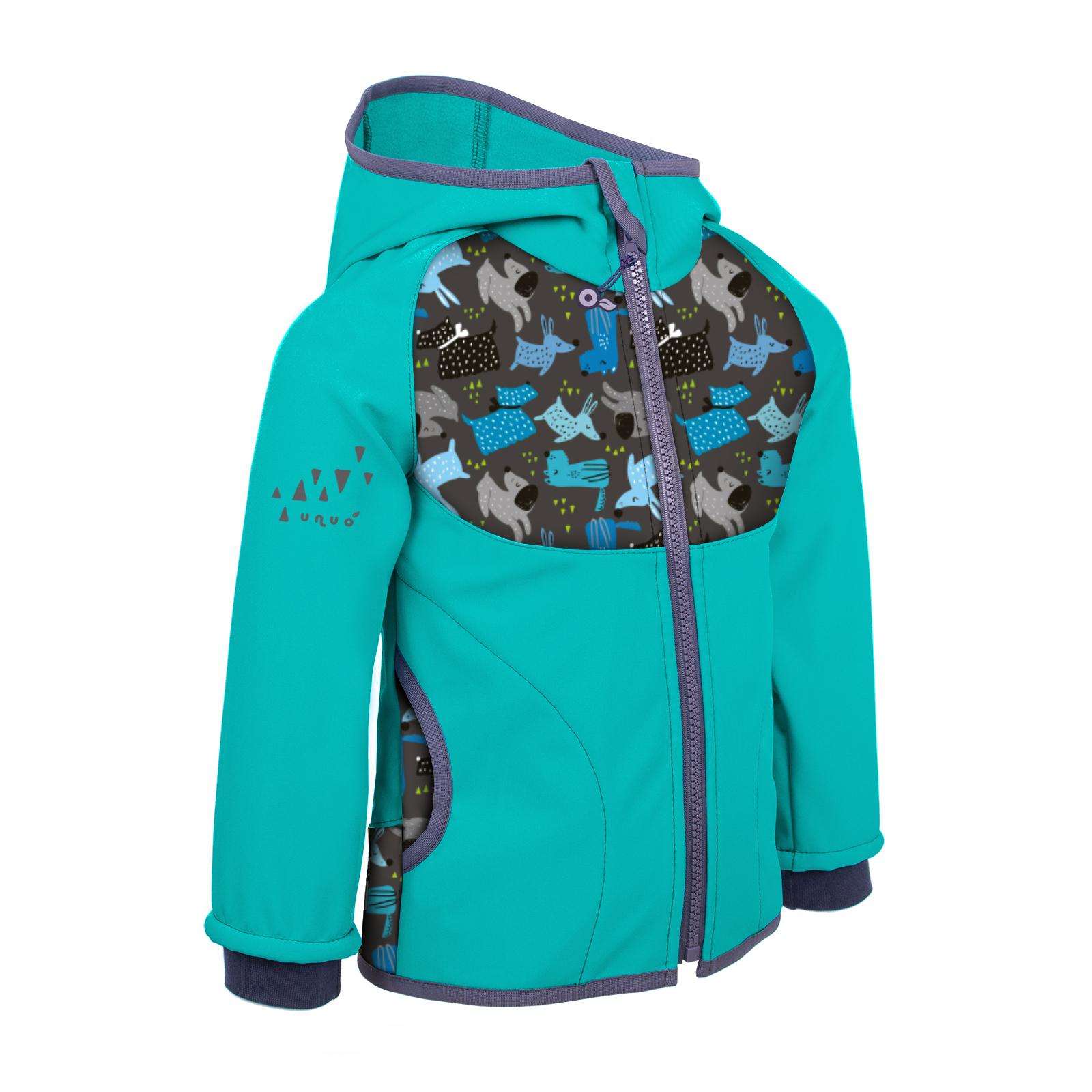 Unuo Softshellová bunda s fleecem, Smaragdová, Pejsci Velikost: 80/86 dětská bunda