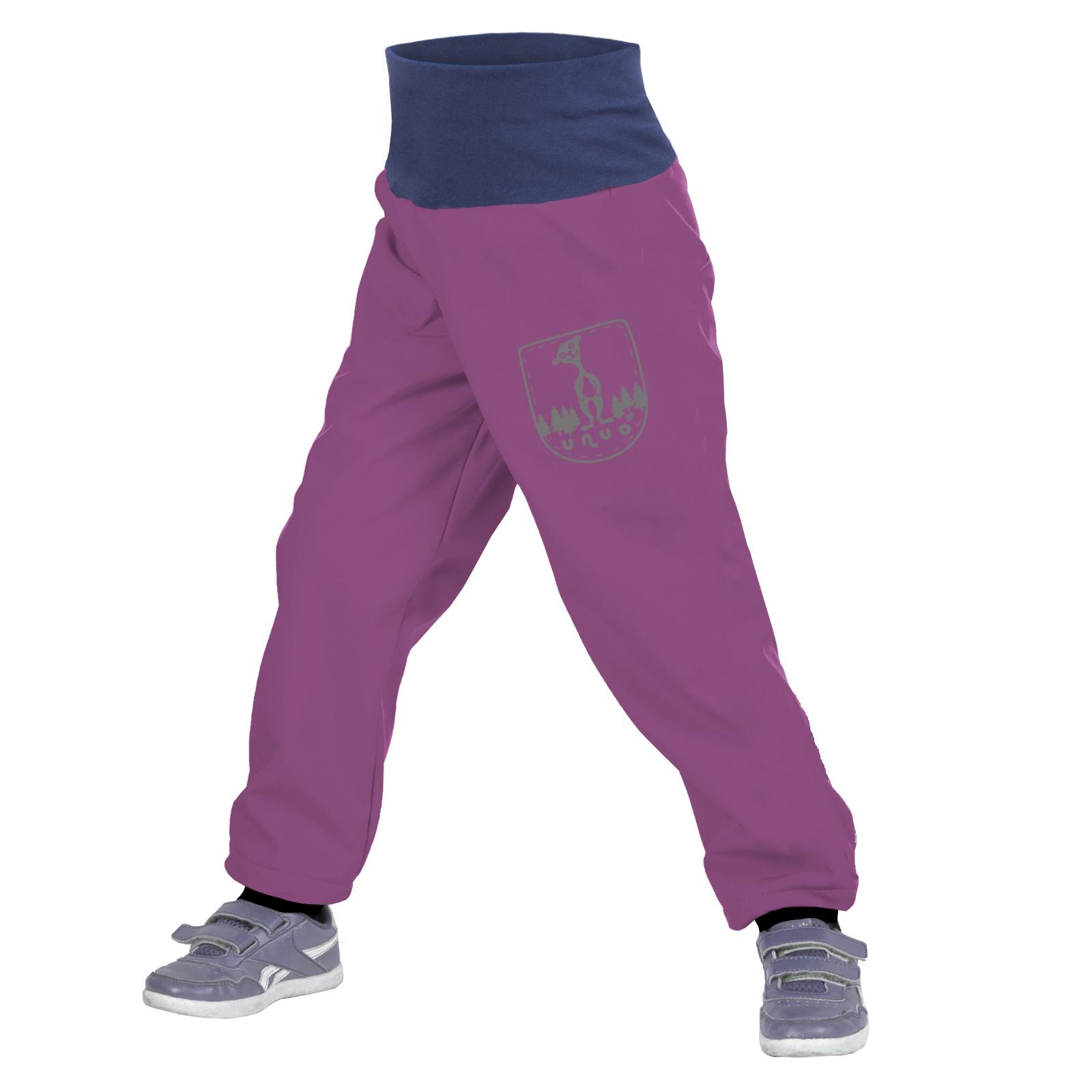 Unuo Batolecí softshellové kalhoty s fleecem, Ostružinová + reflexní obrázek Evžen (Softshell toodler trousers) Velikost: 92/98 SLIM