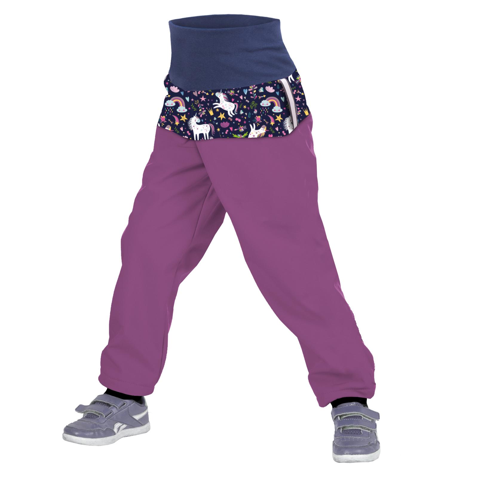 Unuo Batolecí softshellové kalhoty s fleecem, Ostružinová, Jednorožci Velikost: 86/92 SLIM