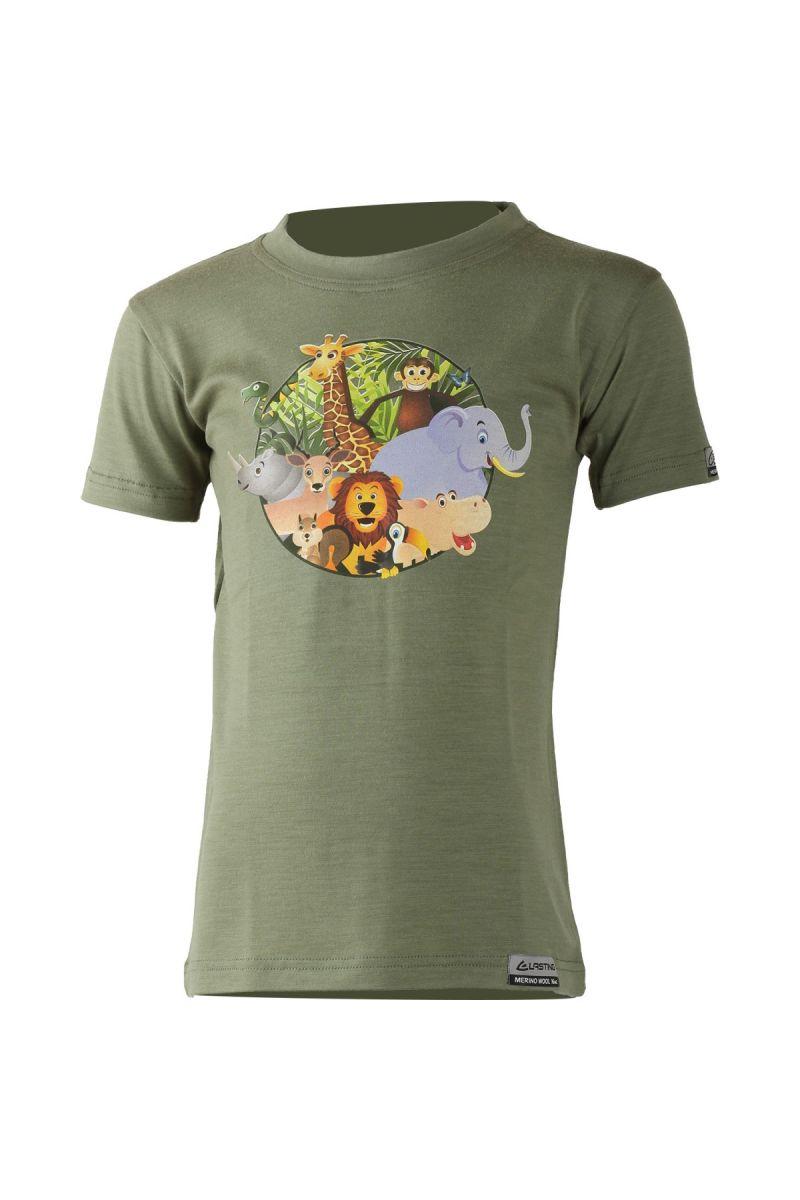 Lasting dětské merino triko ANIM zelené Velikost: 150