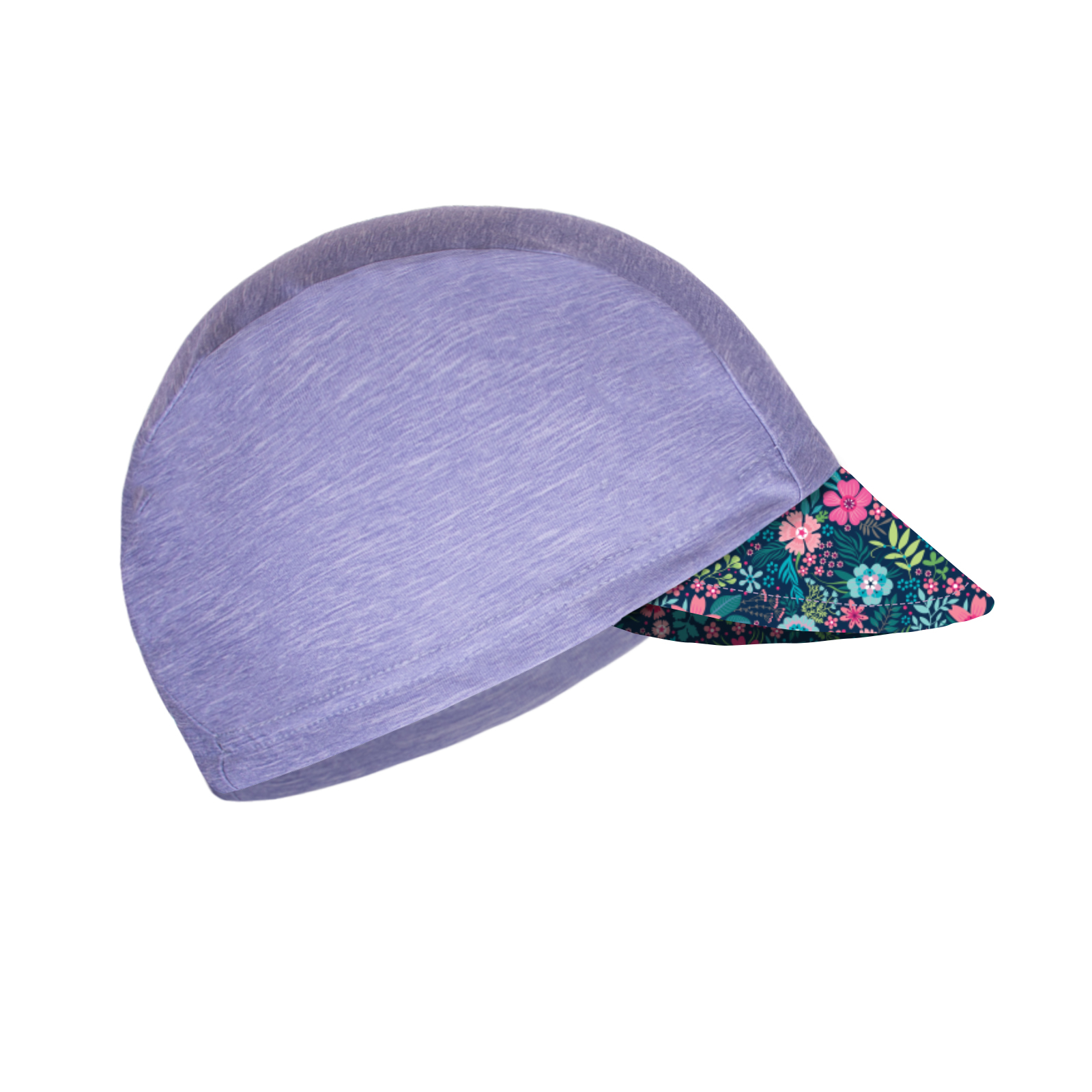 Unuo, Dětská funkční čepice s kšiltem UV 50+, Žíhaná Holubičí Šedá, Květinky Velikost: M (49 - 52 cm)