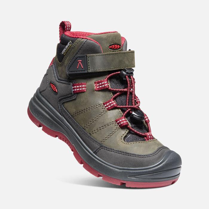 Keen REDWOOD MID WP JR steel grey/red dahlia Velikost: 37 dětské boty