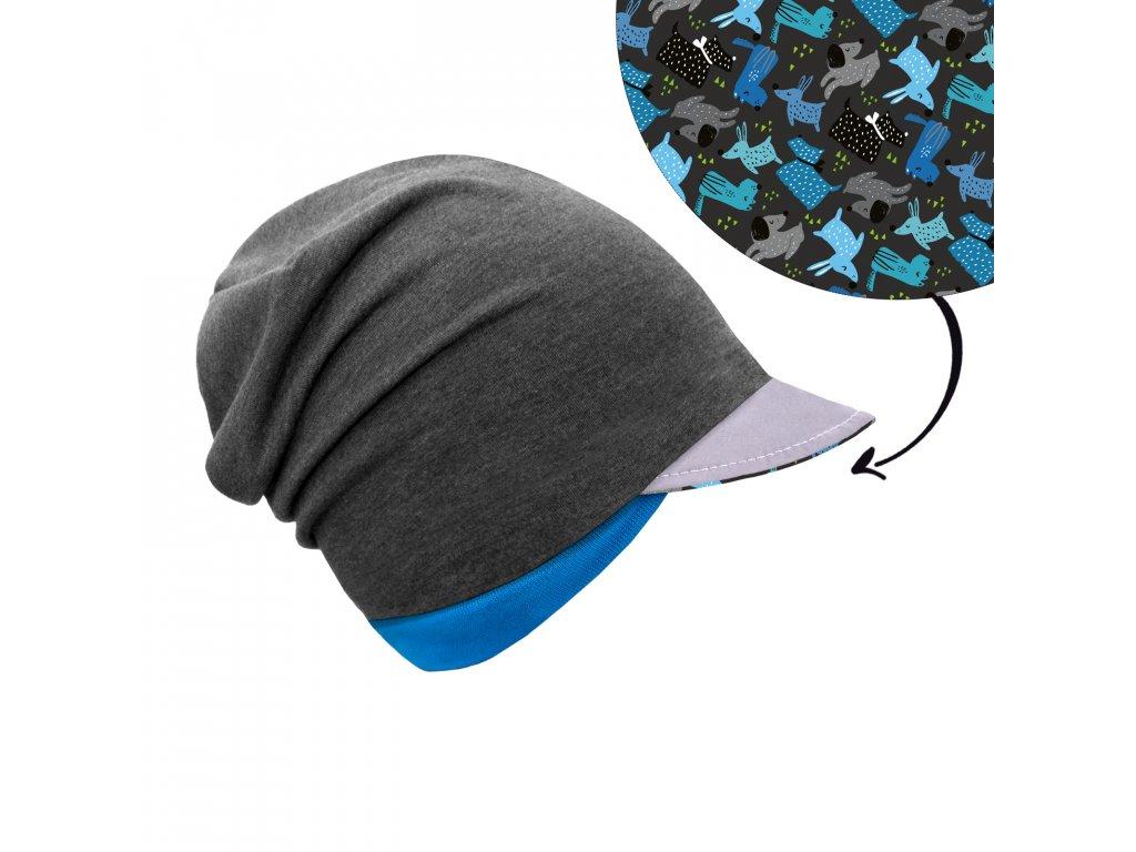 Unuo, Dětská čepice z teplákoviny s reflexním kšiltem spadená, Grafitová šedá, Pejsci Velikost: M