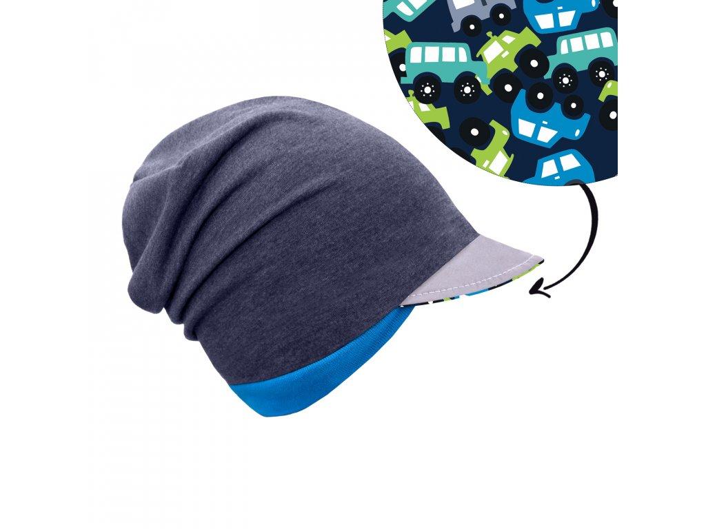 Unuo, Dětská čepice z teplákoviny s reflexním kšiltem spadená, Jeans temný, Autíčka Velikost: M