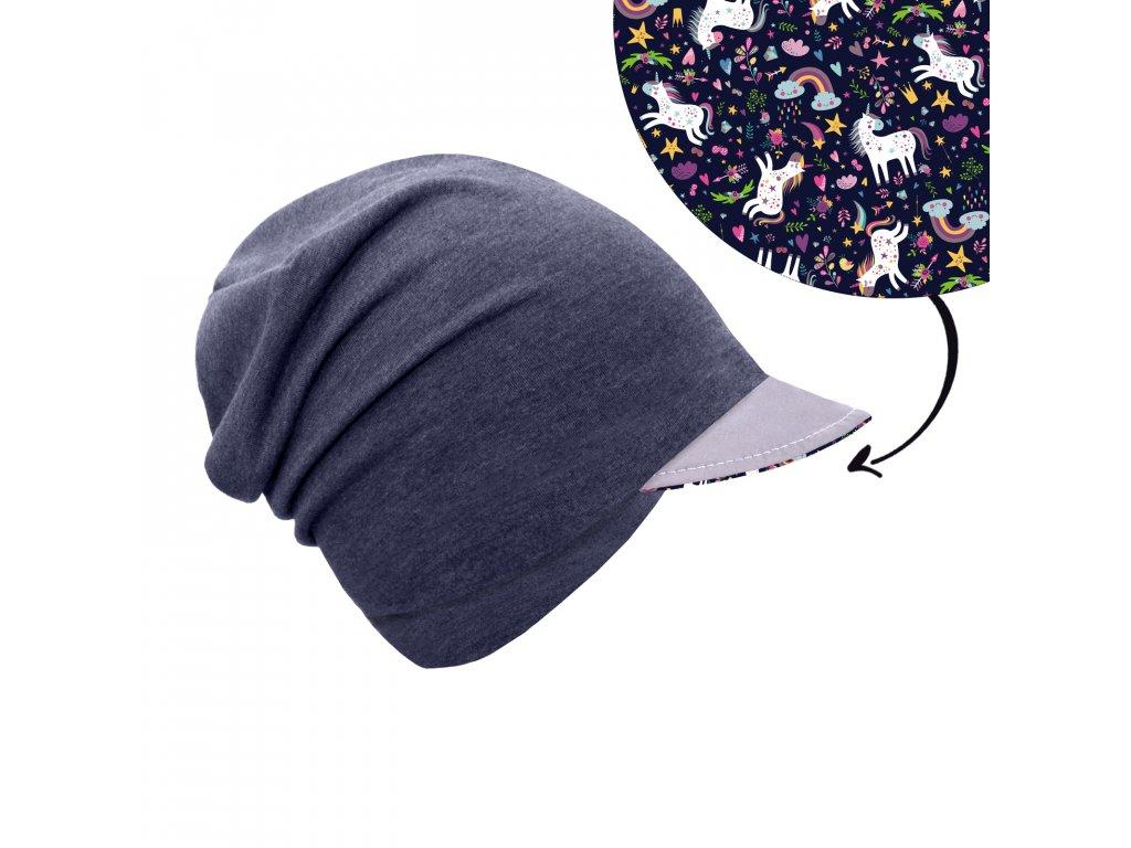 Unuo, Dětská čepice z teplákoviny s reflexním kšiltem spadená, Jeans temný, Jednorožci Velikost: M