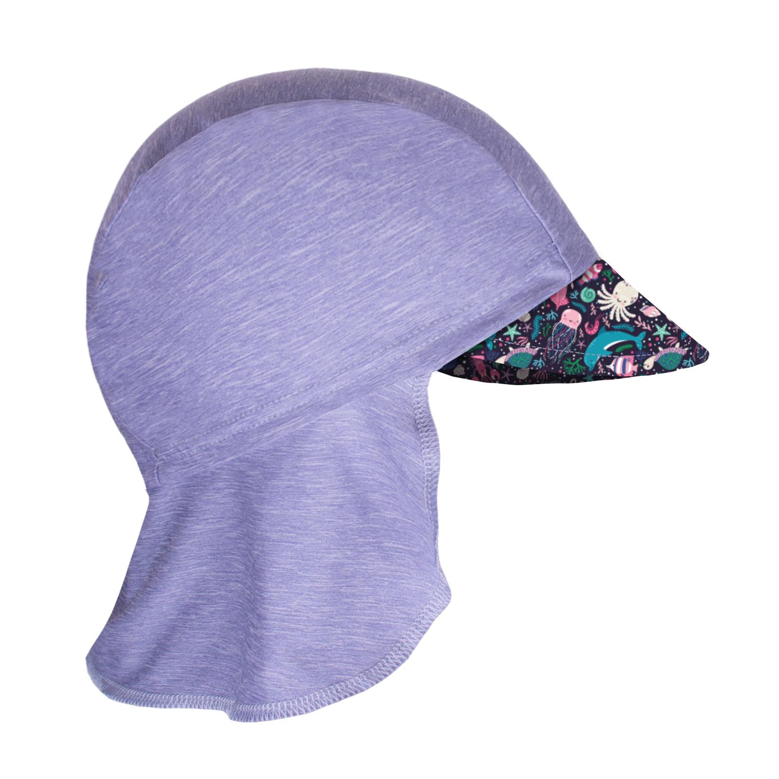 Unuo, Dětská funkční čepice s kšiltem a plachetkou UV 50+, Žíhaná Holubičí Šedá, Mořský svět Velikost: XS (42 - 44 cm)