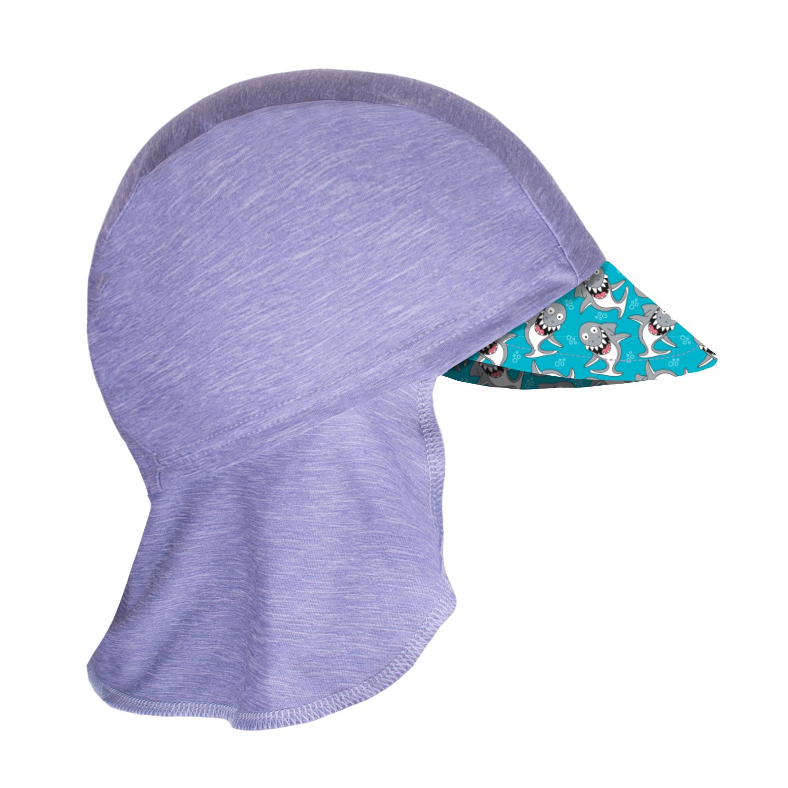 Unuo, Dětská funkční čepice s kšiltem a plachetkou UV 50+, Žíhaná Holubičí Šedá, Žraloci Velikost: S (45 - 48 cm)