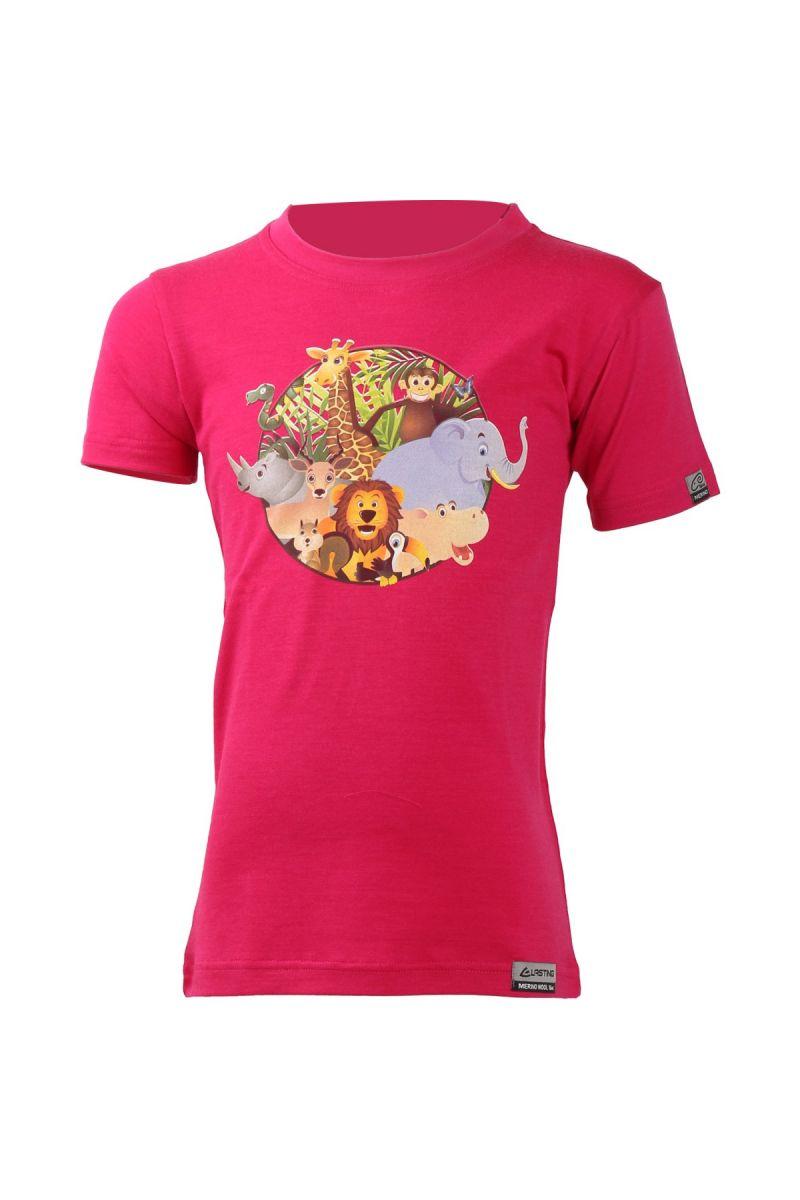Lasting dětské merino triko ANIM růžové Velikost: 110