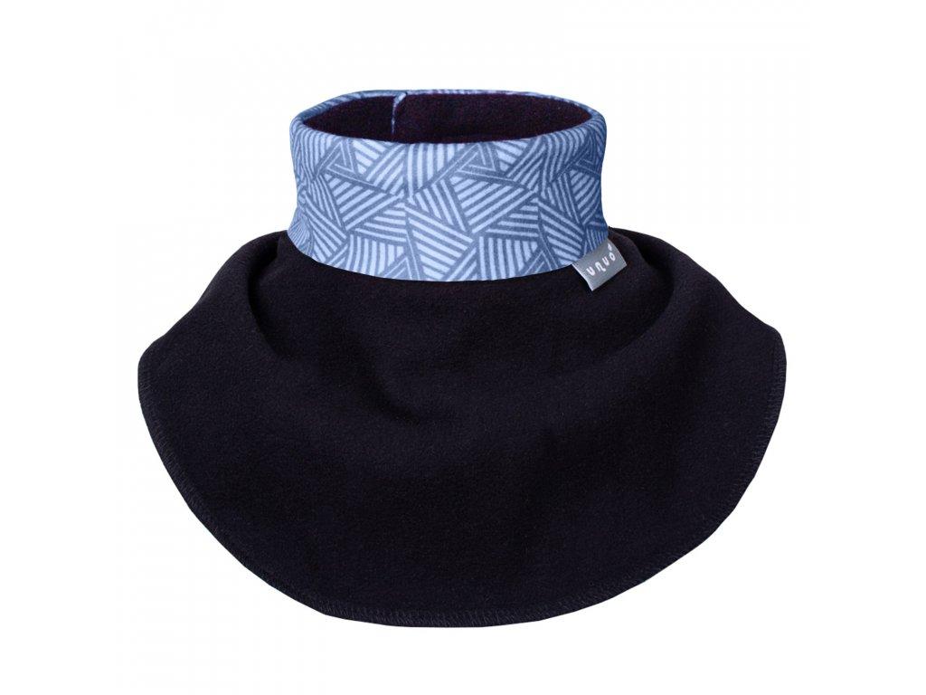 Unuo, Dětský nákrčník z fleecu na suchý zip, Sharp kluk, Černá