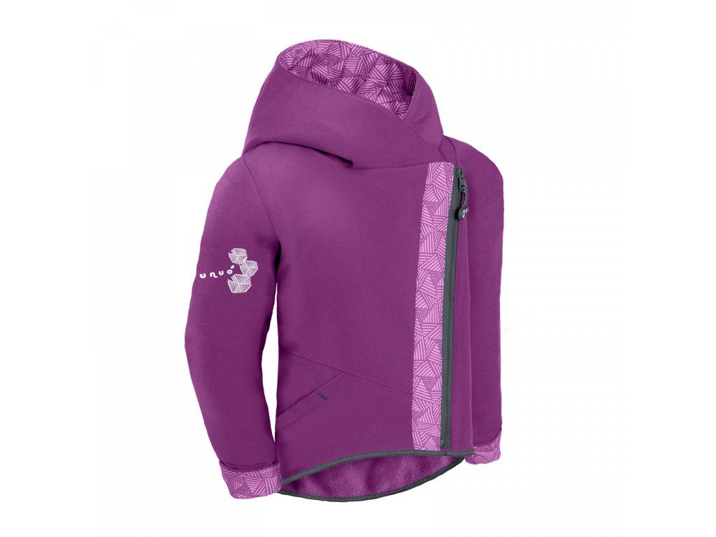 Unuo, Dětská softshellová bunda s fleecem Cross, Ostružinová, Sharp holka Velikost: 134/140 dětská bunda