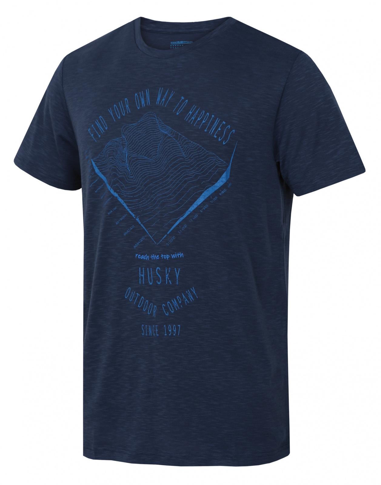 E-shop Husky Pánské triko Tingl M tm. modrá