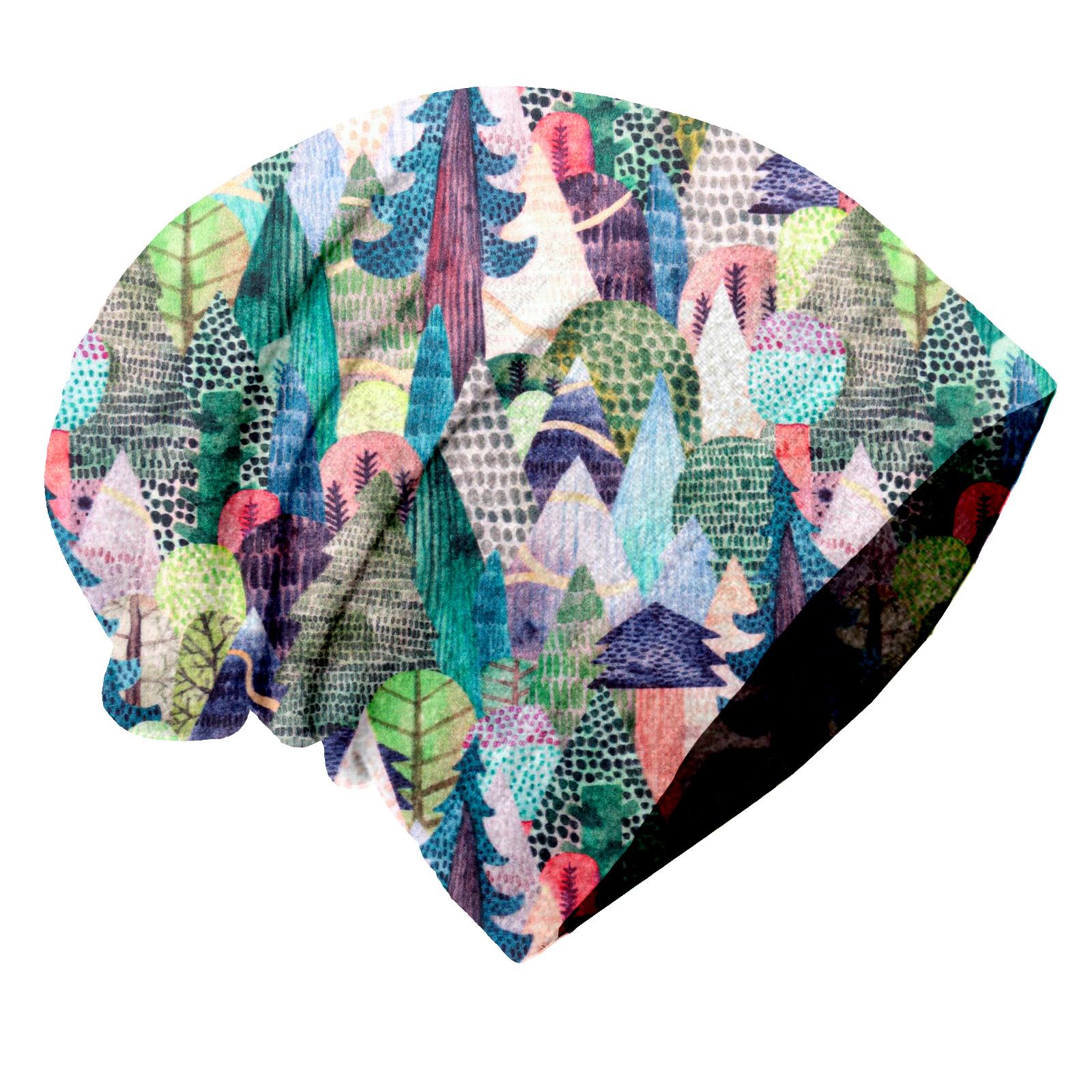 Unuo, Dětská čepice fleecová spadená, Kouzelné stromy Velikost: M