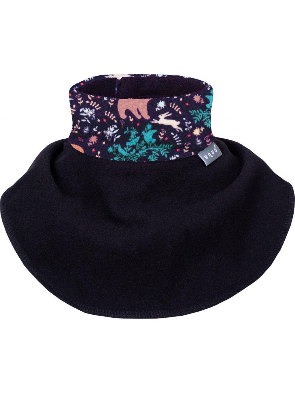 Unuo, Dětský nákrčník z fleecu na suchý zip, Noční zvířátka, Černá