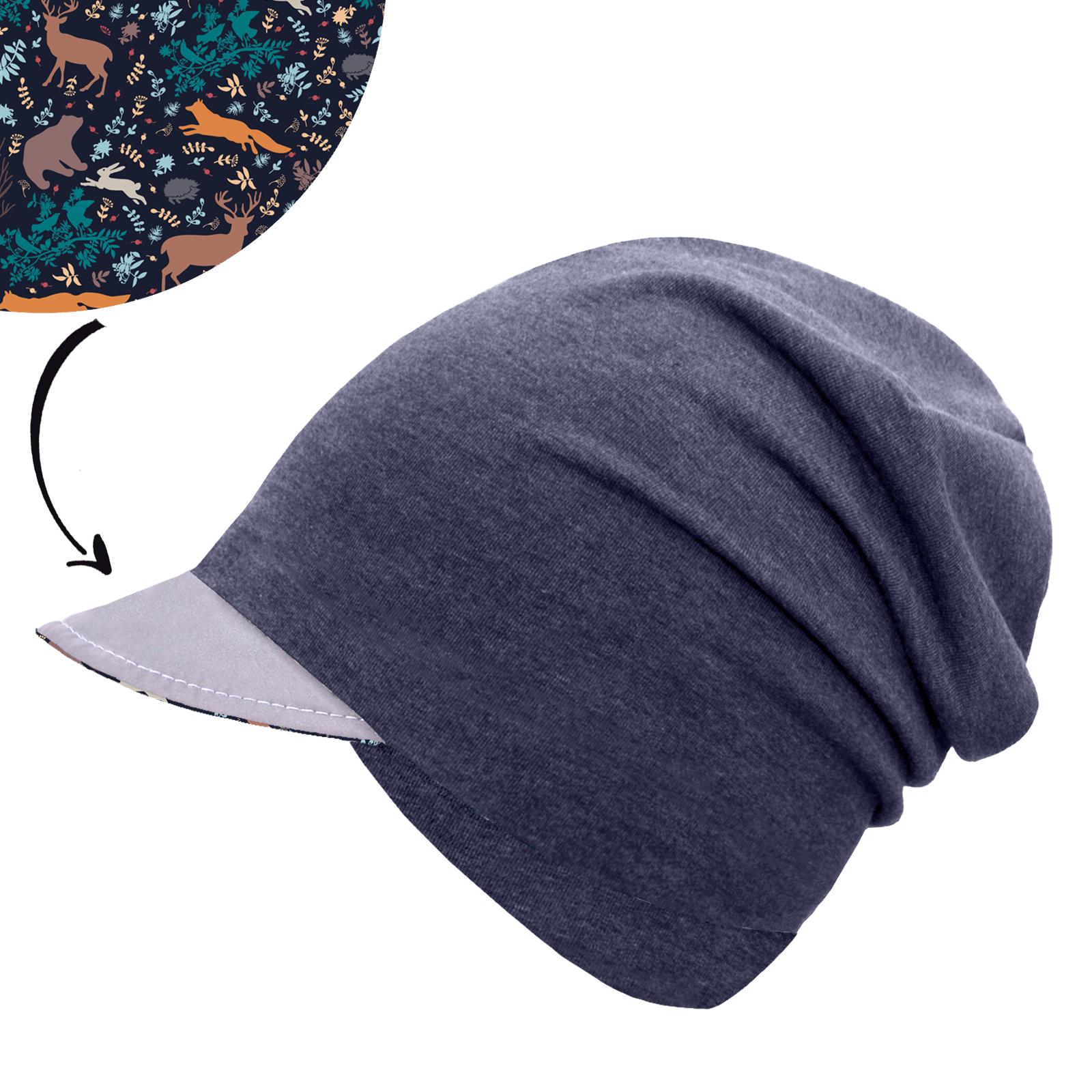 Unuo, Dětská čepice z teplákoviny s reflexním kšiltem spadená, Jeans temný, Noční zvířátka Velikost: M
