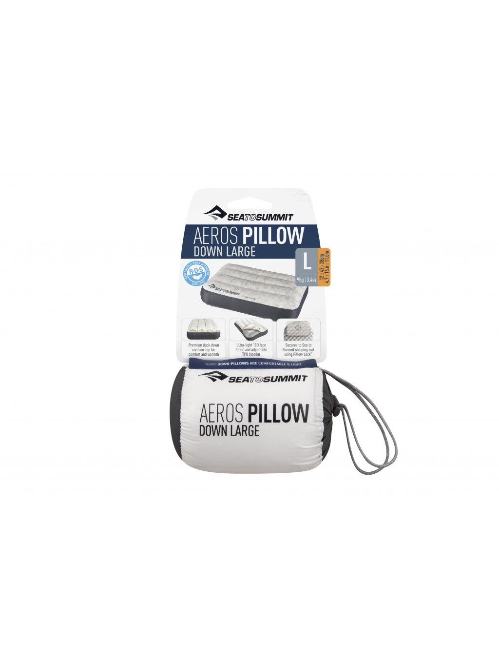 APILDOWNLGY AerosDownPillow Large Grey Packaging 01