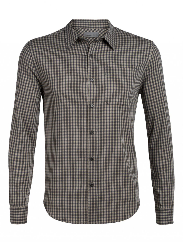 ICEBREAKER Mens Compass Flannel LS Shirt, Monsoon/British Tan