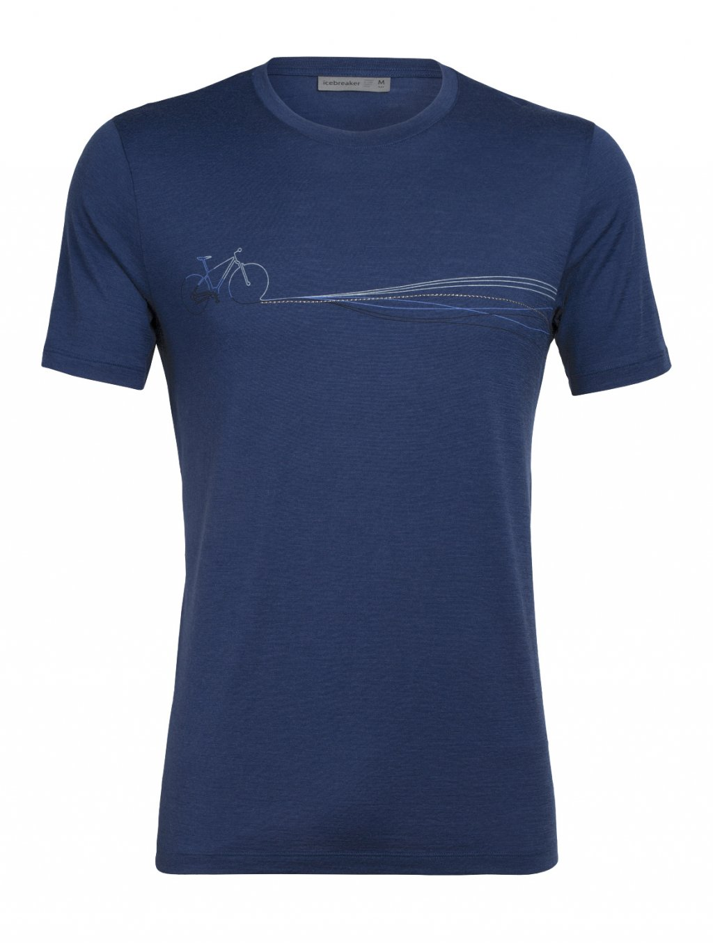 ICEBREAKER Mens Tech Lite SS Crewe Cadence Paths, ESTATE BLUE