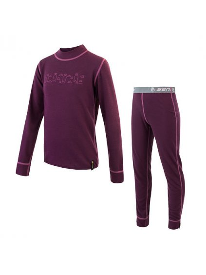 SENSOR DOUBLE FACE SET BEARS dětský triko dl.rukáv + spodky, fialová