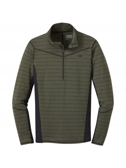 OUTDOOR RESEARCH Men's Enigma Half Zip, fatigue/black stripe