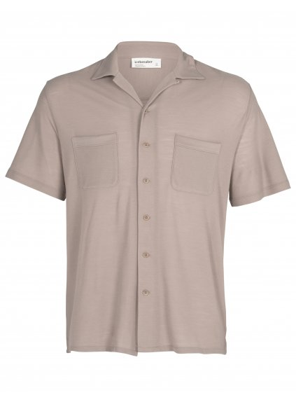 ICEBREAKER Mens 180 Pique Open Collar Shirt, Pumice (vzorek)
