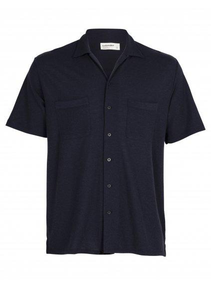 ICEBREAKER Mens 180 Pique Open Collar Shirt, Midnight Navy (vzorek)