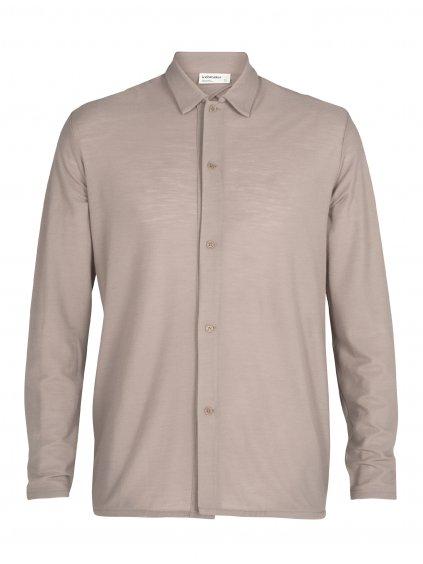 ICEBREAKER Mens 180 Pique Shirt Jacket, Pumice (vzorek)