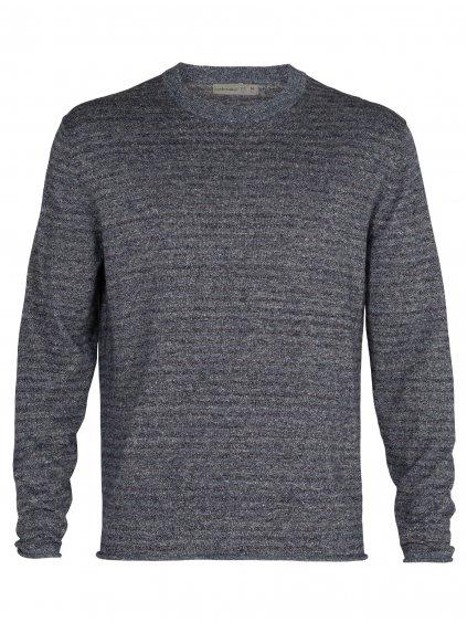ICEBREAKER Mens Flaxen LS Crewe Sweater, Serene Blue Heather (vzorek)