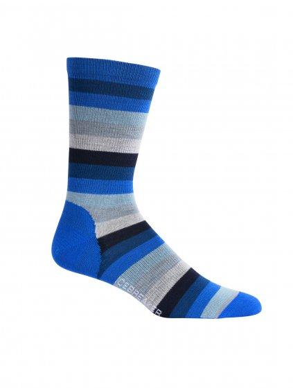 ICEBREAKER Mens Lifestyle Ultralight Crew Stripe, Lapis/Estate Blue (vzorek)