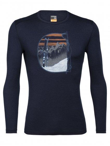 ICEBREAKER Mens 200 Oasis LS Crewe Mt Blanc Rise, Midnight Navy (vzorek)