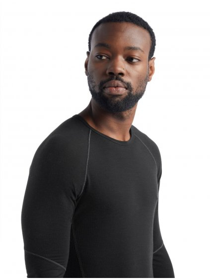 ICEBREAKER Mens 150 Zone LS Crewe, Black