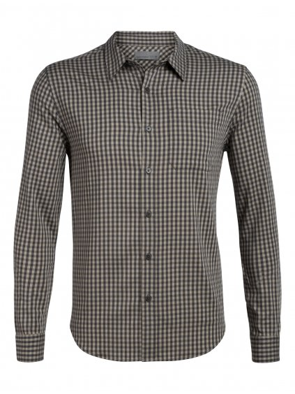 ICEBREAKER Mens Compass Flannel LS Shirt, Monsoon/British Tan