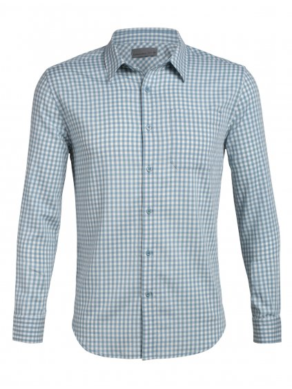 ICEBREAKER Mens Compass Flannel LS Shirt, Waterfall/Enamel