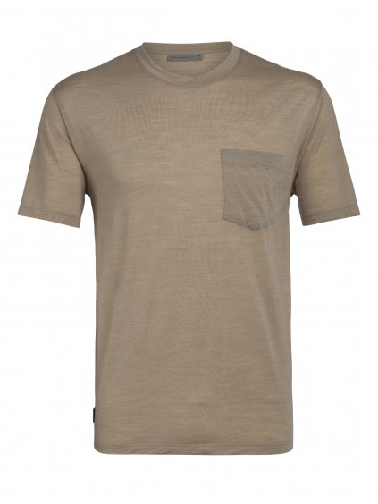 ICEBREAKER Mens Nature Dye Drayden SS Pocket Crewe, ALMOND